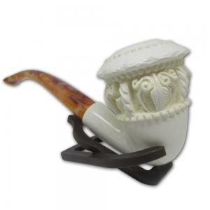 Patterned Medium Top Bowl With Light Stem Meerschaum Pipe