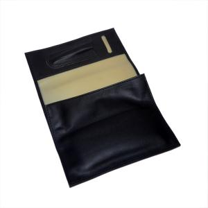 Black Leatherette Rubber Lined Large Pipe Tobacco Pouch