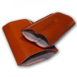 GBD Plain Leather Cigar Case - Two Robusto - TAN