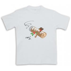 Cigar Yule Log - White - Christmas Cigar Themed T-Shirt