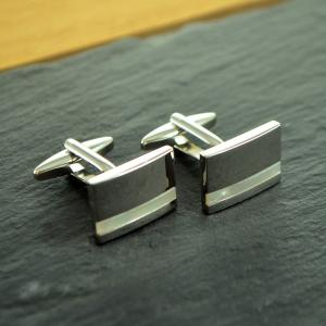 Rectangle Mother of Pearl Personalised Cufflinks