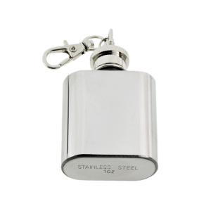 1oz Stainless Steel Hip Flask Keyring