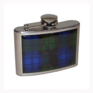 4oz Tartan Stag Design Personalised Hip Flask