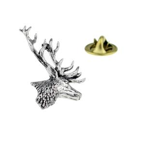 English Pewter Stags Head Lapel Pin Badge