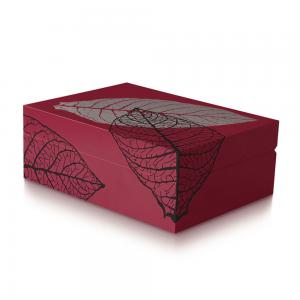 Davidoff Zino Red Graphic Leaf Humidor - 50 Cigar Capacity