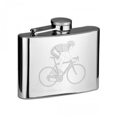4oz Cyclist Personalised Hip Flask