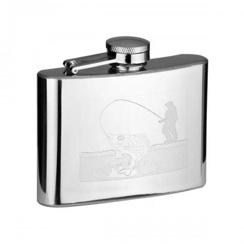 4oz Fisherman with Rod Personalised Hip Flask