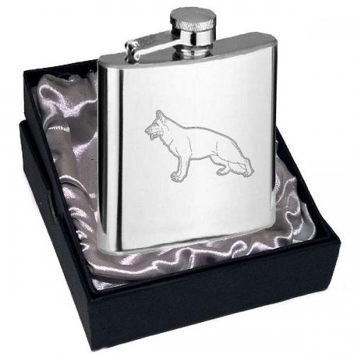 4oz German Shepherd Design Personalised Hip Flask